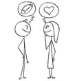 cartoon of man and woman talking about football vector image vector image
