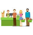 cartoon shopping in supermarket people vector image vector image