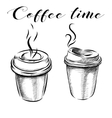 Collection of hand-drawn pictures coffee cups vector image vector image