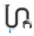crack in a water pipe with water drops vector image vector image