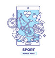 creative of mobile phone with bicycle heart vector image