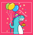 cute dinosaur birthday with balloon and cake vector image vector image