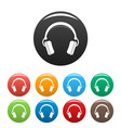 dj headphones icons set color vector image vector image