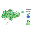 ecology green mosaic singapore map vector image vector image