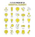 essential element icon set yellow futuro latest vector image