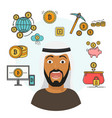flat style infographics with scared arab person vector image