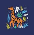 giraffe flat hand drawn characters vector image vector image
