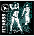 girls with dumbbells monochrome on grunge vector image vector image