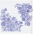 hand-drawn doodle flower set vector image vector image