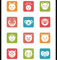 icon set animals in square vector image vector image