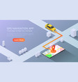 isometric web banner car going to pin point at vector image vector image