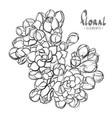 lush flower blossoms in black and white vector image vector image