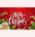 merry christmas hand drawn lettering greeting card vector image