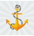 Nautical anchor with rope in flat design style
