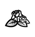 old school black white tattoo with rose vector image vector image