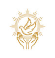 praying hands and dove a symbol of the holy spirit vector image vector image