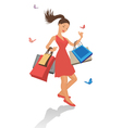 pretty shopping girl vector image vector image