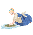 Sad Cinderella Cleaning the Floor vector image vector image