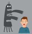 scared boy and fear monster vector image