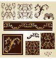 seamless floral patterns with decorative borders vector image vector image