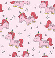seamless pink unicorn pattern vector image vector image