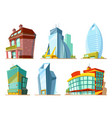 set different modern buildings in cartoon style vector image vector image