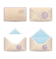 Set of vintage envelopes vector image vector image