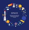 Space Icons and Objects in the Shape of Circle in vector image vector image