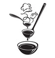 spoon ladle plate and steam vector image vector image