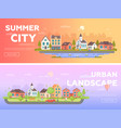 summer city urban landscape - set of modern flat vector image vector image