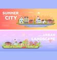 summer city urban landscape - set of modern flat vector image