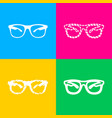sunglasses sign four styles of icon vector image vector image