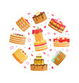 sweet desserts round shape sweet delicious vector image vector image