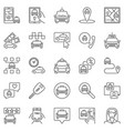 taxi outline icons set - taxi service vector image vector image