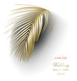 tropical golden palm leaves on white background vector image vector image