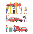 car repair auto service with mechanic characters vector image