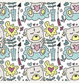 seamless pattern with cute teddy bears vector image