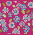 a fun floral repeat print pattern in pink and blue vector image vector image