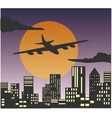 airplanes in sky at sunset flying over the vector image vector image