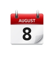 August 8 flat daily calendar icon Date vector image vector image