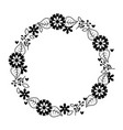 beautiful floral wreath with spring flowers leaves vector image