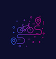 bicycle and route line icon vector image vector image