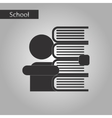 black and white style icon of schoolboy books vector image vector image