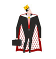 boss king in crown and royal cloak businessman vector image vector image