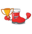 boxing winner santa boots in shape a cartoon vector image vector image
