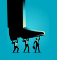 businessmen trying to lift up giant foot vector image vector image