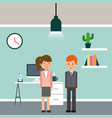 businesswoman and businessman briefcase vector image vector image