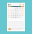 calendar may 2019 year in simple style calendar vector image vector image