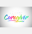 caregiver creative vetor word text with vector image vector image