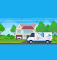 cargo van truck driving road parcel box with vector image vector image